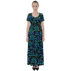 Zappwaits Flower High Waist Short Sleeve Maxi Dress by zappwaits