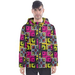 Squares Pattern                                  Men s Hooded Puffer Jacket by LalyLauraFLM
