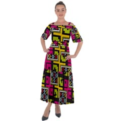 Squares Pattern                                     Shoulder Straps Boho Maxi Dress