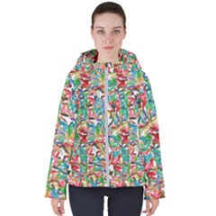 Colorful Paint Strokes On A White Background                                 Women s Hooded Puffer Jacket