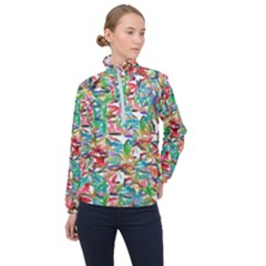 Colorful Paint Strokes On A White Background                                  Women Half Zip Windbreaker by LalyLauraFLM