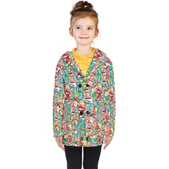 Colorful Paint Strokes On A White Background                                  Kids  Double Breasted Button Coat