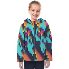 Rectangles In Retro Colors                                 Kids  Hooded Puffer Jacket