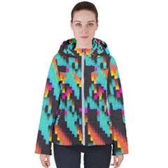 Rectangles In Retro Colors                                 Women s Hooded Puffer Jacket