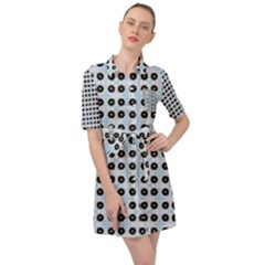 Black Flower On Blue White Pattern Belted Shirt Dress by BrightVibesDesign