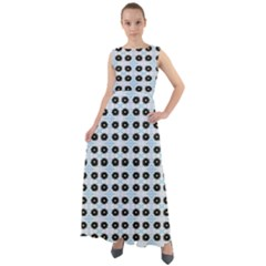 Black Flower On Blue White Pattern Chiffon Mesh Boho Maxi Dress by BrightVibesDesign