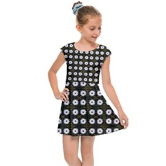 White Flower Pattern On Yellow Black Kids  Cap Sleeve Dress by BrightVibesDesign