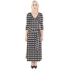 White Flower Pattern On Yellow Black Quarter Sleeve Wrap Maxi Dress by BrightVibesDesign