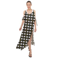 White Flower Pattern On Yellow Black Maxi Chiffon Cover Up Dress by BrightVibesDesign