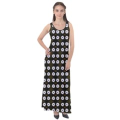 White Flower Pattern On Yellow Black Sleeveless Velour Maxi Dress by BrightVibesDesign