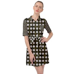 White Flower Pattern On Yellow Black Belted Shirt Dress by BrightVibesDesign