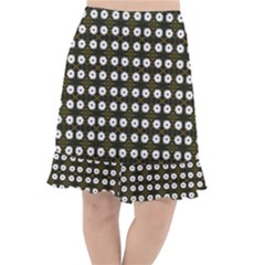 White Flower Pattern On Yellow Black Fishtail Chiffon Skirt