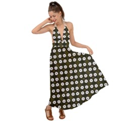 White Flower Pattern On Yellow Black Backless Maxi Beach Dress by BrightVibesDesign