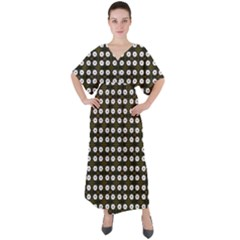 White Flower Pattern On Yellow Black V Neck Boho Style Maxi Dress by BrightVibesDesign