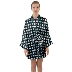 White Flower Pattern On Green Black Long Sleeve Kimono Robe by BrightVibesDesign