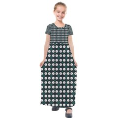 White Flower Pattern On Green Black Kids  Short Sleeve Maxi Dress by BrightVibesDesign