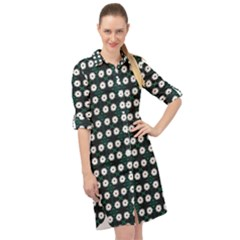 White Flower Pattern On Green Black Long Sleeve Mini Shirt Dress by BrightVibesDesign