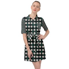 White Flower Pattern On Green Black Belted Shirt Dress by BrightVibesDesign
