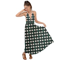 White Flower Pattern On Green Black Backless Maxi Beach Dress by BrightVibesDesign