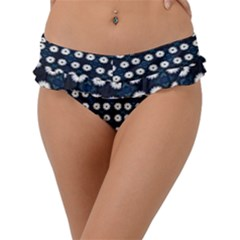 White Flower Pattern On Dark Blue Frill Bikini Bottom by BrightVibesDesign