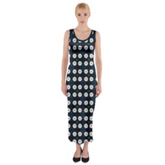 White Flower Pattern On Dark Blue Fitted Maxi Dress by BrightVibesDesign