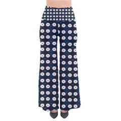 White Flower Pattern On Dark Blue So Vintage Palazzo Pants by BrightVibesDesign