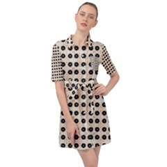 Black Flower On Yellow White Pattern Belted Shirt Dress by BrightVibesDesign