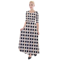 Black Flower On Yellow White Pattern Half Sleeves Maxi Dress