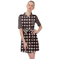 White Flower Pattern On Pink Black Belted Shirt Dress by BrightVibesDesign