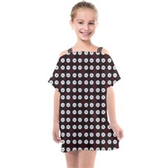 White Flower Pattern On Pink Black Kids  One Piece Chiffon Dress by BrightVibesDesign