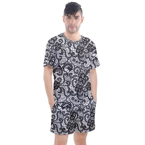 Encaje Men s Mesh Tee And Shorts Set by Sobalvarro