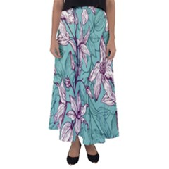 Vintage Floral Pattern Flared Maxi Skirt by Wmcs91