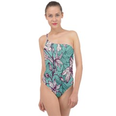 Vintage Floral Pattern Classic One Shoulder Swimsuit by Sobalvarro