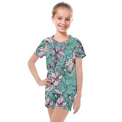 Vintage Floral Pattern Kids  Mesh Tee And Shorts Set by Sobalvarro