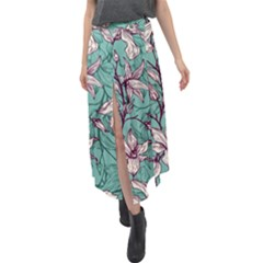 Vintage Floral Pattern Velour Split Maxi Skirt by Wmcs91