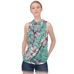 Vintage Floral Pattern High Neck Satin Top by Wmcs91