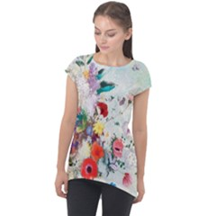 Floral Bouquet Cap Sleeve High Low Top by Sobalvarro