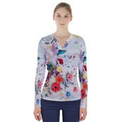 Floral Bouquet V-neck Long Sleeve Top by Sobalvarro
