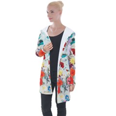 Floral Bouquet Longline Hooded Cardigan by Sobalvarro