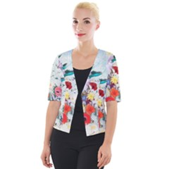 Floral Bouquet Cropped Button Cardigan by Sobalvarro