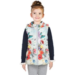 Floral Bouquet Kids  Hooded Puffer Vest by Sobalvarro