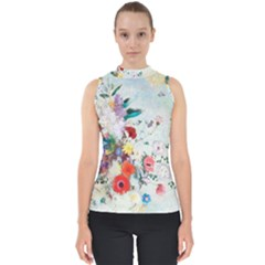 Floral Bouquet Mock Neck Shell Top by Sobalvarro