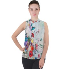 Floral Bouquet Mock Neck Chiffon Sleeveless Top by Wmcs91