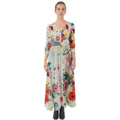 Floral Bouquet Button Up Boho Maxi Dress by Sobalvarro