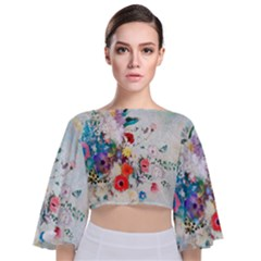 Floral Bouquet Tie Back Butterfly Sleeve Chiffon Top by Sobalvarro