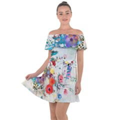 Floral Bouquet Off Shoulder Velour Dress by Sobalvarro
