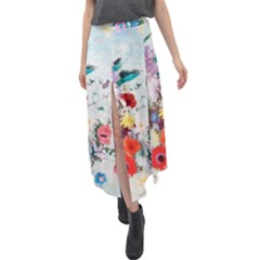 Floral Bouquet Velour Split Maxi Skirt by Sobalvarro