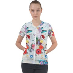 Floral Bouquet Short Sleeve Zip Up Jacket by Sobalvarro
