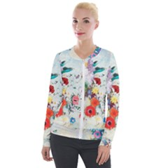 Floral Bouquet Velour Zip Up Jacket by Sobalvarro