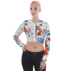 Floral Bouquet Long Sleeve Cropped Velvet Jacket by Sobalvarro